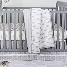 cloud print 3 piece baby crib bedding