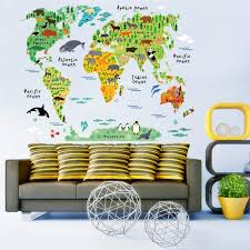 Colorful Animal World Map Wall Sticker Home Decal For Kids Baby Room Living Room Mural Wall Art Decor Removable Walmart Com Walmart Com