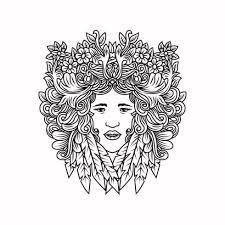 Vrouw Met Haar Gemaakt Van Bloemen En Bladeren Download Free