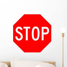 Red Stop Sign Wall Decal Wallmonkeys Com
