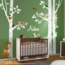 Birch Trees Wall Decal Nursery Wall Decal Forest Trees Wall Decal Styleywalls On Artfire