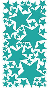 Amazon Com Drama Decor 57 Peel Stick Removable Wall Decals Stars Turquoise Green Home Kitchen