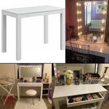 makeup vanity table glam chevron white