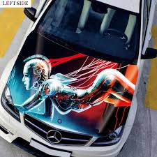 Left Side Car Stickers Innovative Anime Cartoon Lady Robot Bonnet Hood Car Styling Customize Size To Suit All Vehicles Stickers Sticker Candy Sticker Waterstickers Crane Aliexpress