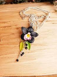 black orchid necklace flower pendant