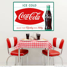 Decals Stickers Coca Cola Fishtail Wall Decal Embossed Look Vintage Style Kitchen Collectibles Karmickproduction Com