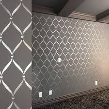 Modern Masters Silver Metallic Paint Stenciled On Media Room Walls With A Royal Design Studio Stencil By Decora Lattice Wall Stencils Wall Bedroom Wall Designs