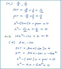 quadratic equation from its roots