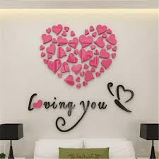 Amazon Com 3d Wall Stickers Fheaven Love Heart Diy Removable Vinyl Decal Art Mural Wall Stickers Home Room Decor Pink Beauty