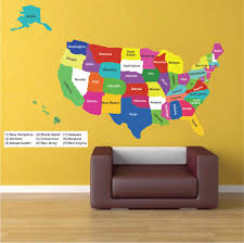 United States Map Wall Decal Educational Wall Decal Murals Primedecals