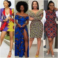 4 different black women dressed in Ankara outfits