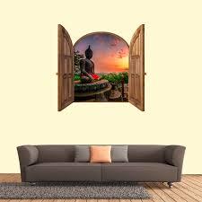 Shop Buddha Wall Decal 3d Widnow Frame Mural Overstock 31519486