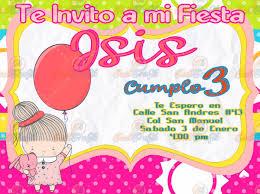 Invitacion Para Fiestas Infantiles Nina Con Globo 80 00 En