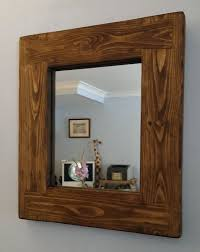 wooden wall mirror thick natural eco