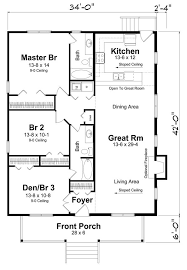 rectangle house plan with 3 bedrooms