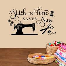 Craft Wall Decal Stitch Time Saves Nine Vinyl Lettering