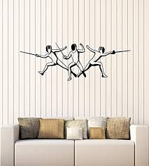 Amazon Com Art Of Decals Amazing Home Decor Large Vinyl Wall Decal Fencers With Foil Fencing School Decor Sport Stickers Mural 483 Home Kitchen