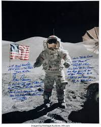 Gene Cernan Signed Lunar Surface Large Color Photo with Extensive ...