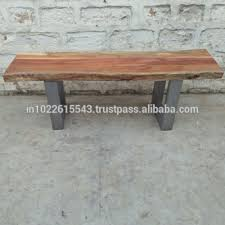 industrial vintage live edge bench with