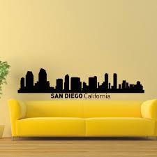 San Diego California Skyline City Silhouette Vinyl Wall Art Decal Sticker City Silhouette Silhouette Decor Silhouette Vinyl
