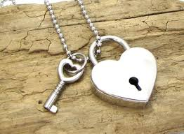 necklace 39x30mm silver heart padlock