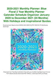 mobiepub monthly planner blue floral year monthly plann