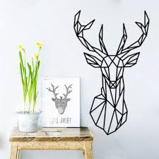 41 Off 2020 Geometric Deer Head Animal Wall Stickers Art And Fresh Living Room Bedroom Decor In Black Dresslily
