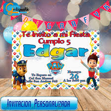 Invitacion De Cumple Anos Infantil Patrulla Canina 80 00 En
