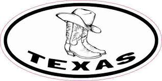 4inx2in Oval Hat And Boots Texas Sticker Vinyl Luggage Decal Car Stickers Stickertalk