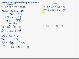 multi step equations with fractions and