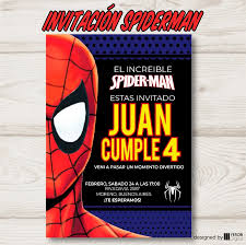 Yerob Digital Invitacion Spiderman 2 Hombre Arana Pack X10 U