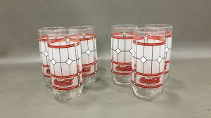 6pc vintage coca cola frosted stained