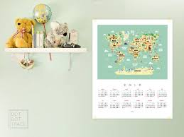 2019 Calendar For Kids World Map Calendar 2019 Kid S Room Etsy