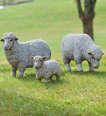 resin sheep and lamb lawn statues