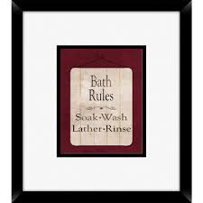 Ptm Images 18 In X 16 In Bath Rules A Framed Wall Art 1 76761 The Home Depot