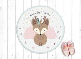 Baby Deer Vinyl Rug In Pink And Blue Linoleum Rug For Kids Etsy