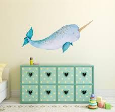 Baby Narwhal Wall Decal Sticker Ocean Sea Unicorn Nautical Etsy Wall Decals Baby Wall Art Ocean Nursery Decor