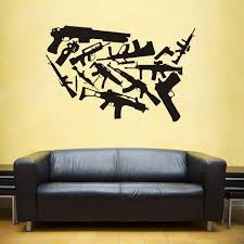 Us Usa Gun Weapon Map Wall Stickers Large New Design Coffee Shop Pattern Map Wall Decal Vinyl Poster Sticker World Map Decals Wall Stickers Aliexpress