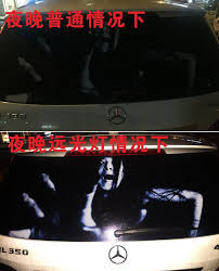 Drivers Using Reflective Scary Face Decals On Rear Window To Discourage High Beam Users Geekologie