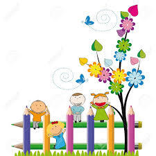 Small And Happy Kids On Colorful Fence Royalty Free Cliparts Vectors And Stock Illustration Image 13535815