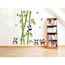 Amazon Com Ufengke Green Bamboo Cute Panda Butterflies Wall Decals Living Room Bedroom Removable Wall Stickers Murals Home Kitchen
