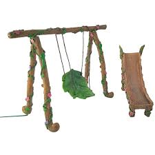 fairy and gnome miniature swing and