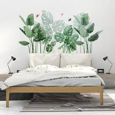 Tropical Monstera Leaf Wall Sticker Dragonfly And Birds Etsy