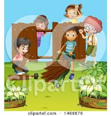 Clipart Of A Group Of Children Building A Fence Royalty Free Vector Illustration By Graphics Rf 1469879