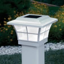 Prestige Solar Powered Lighted Post Caps White From Sportys Preferred Living