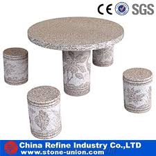 mixed granite table and benches chairs