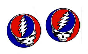 Collectibles 2 Round Grateful Dead Steal Your Face Decal Sticker Jerry Garcia Skull Hippie Decals Stickers