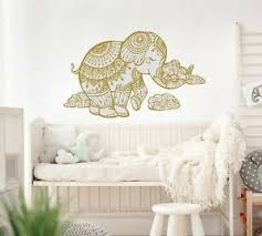 Elephant Wall Decal Nursery Fullcolor Vinyl Sticker Kids Boho Bedroom Mandala Ebay