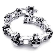 Felix Perry Men's Heavy Bike Chain Skull Bracelet Stainless Steel Silver  Color High Polished Large SSB 001|bracelet lock|bracelet religiousbracelet  gemstone - AliExpress