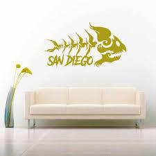 San Diego Tribal Fish Skeleton Vinyl Car Window Decal Sticker